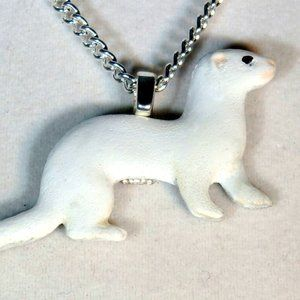 Dark eyed white or DEW ferret necklace